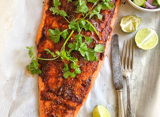 Oven Roasted Salmon with a Tamarind, Honey & Ginger BBQ Sauce