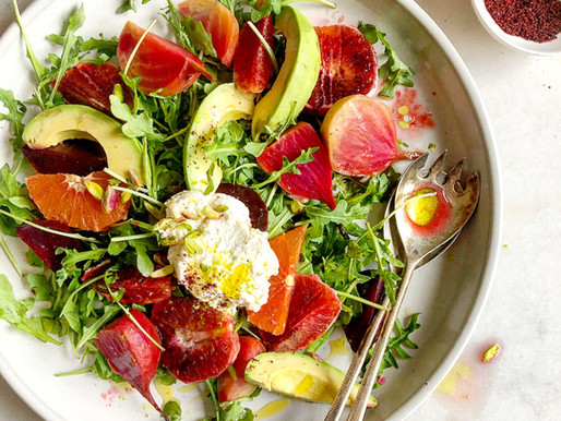 Citrus Arugula and Beets Salad with Pistachios, Ricotta and Sumac