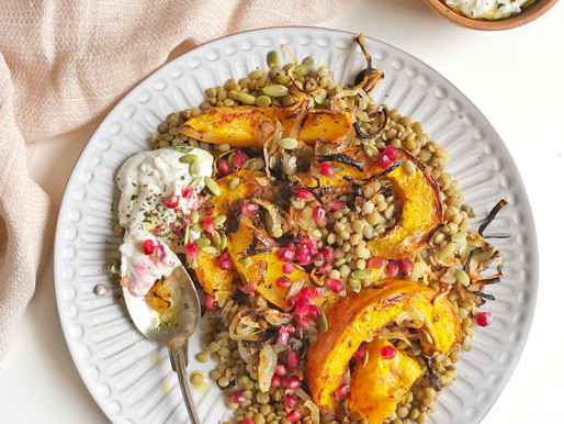 Warm Lentil Salad with Roasted Pumpkins and Cumin Mint Yogurt Dressing