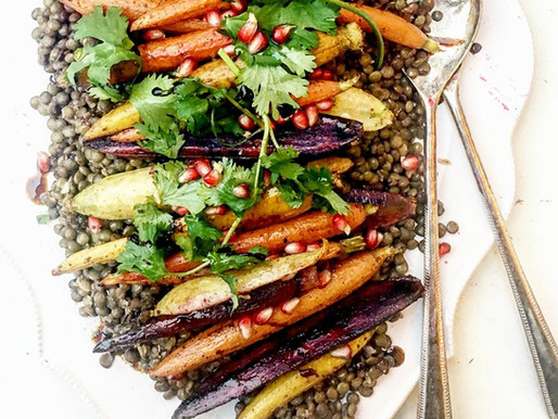 Lentil pilaf with pomegranate molasses & roasted carrots