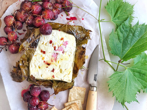 Grilled Feta Cheese in Grape Vine Leaves with Olive Oil Grilled Grapes