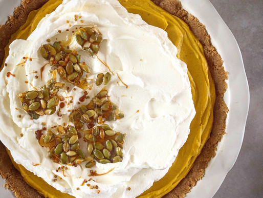No bake roasted pumpkin and white chocolate pie