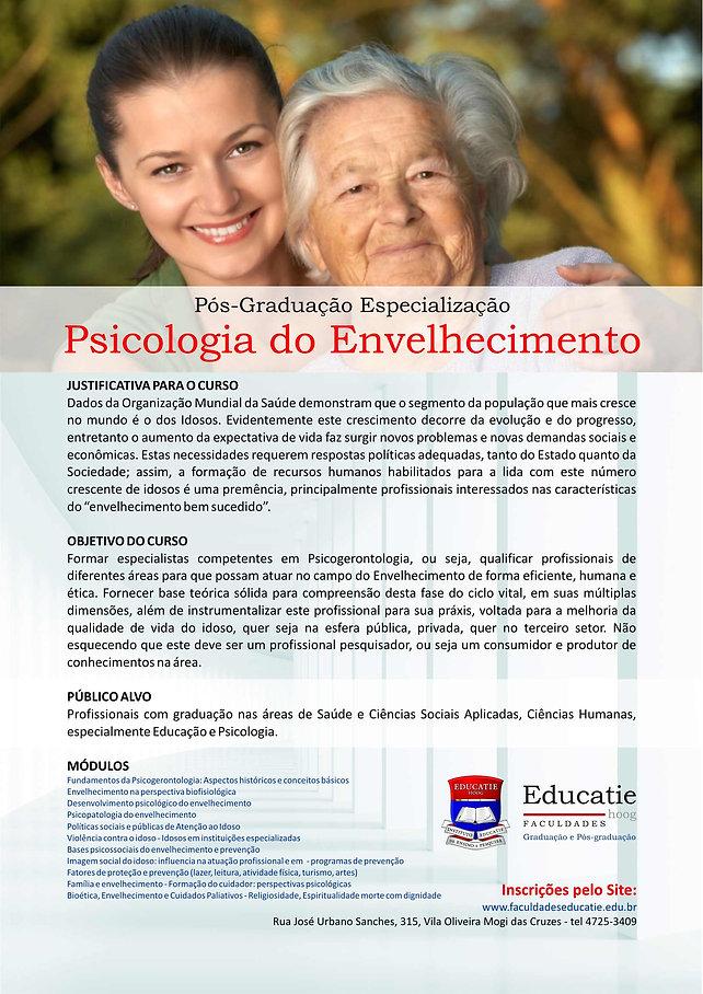 Folder para impressão do curso Psicologia do Envelhecimento - Faculdades Educatie
