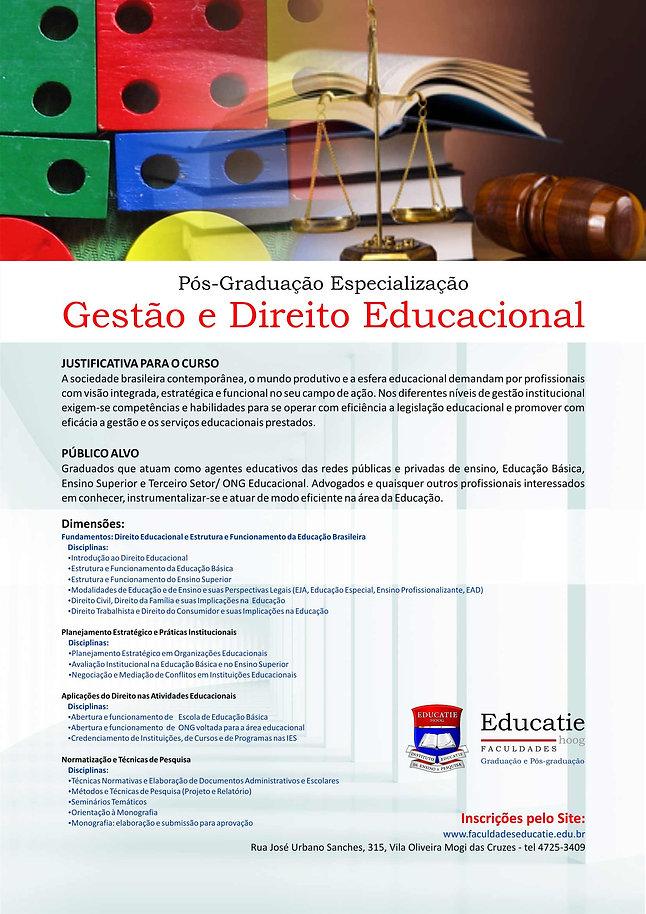 Folder para impressão do curso Gestão e Direito Educacional - Faculdades Educatie