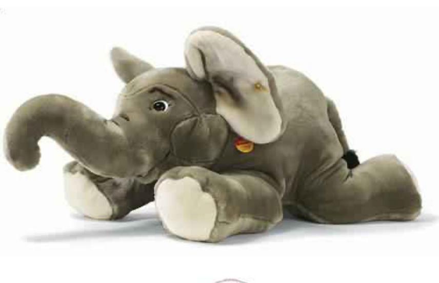 Peluche éléphant couché gris, 85 cm
