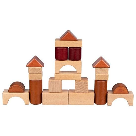 Jeu de construction, coffret en bois