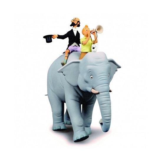 Tintin et professeur Siclone sur l'éléphant