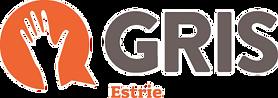 Logo du GRIS Estrie. Bulle de discussion orange avec une main levée au centre.