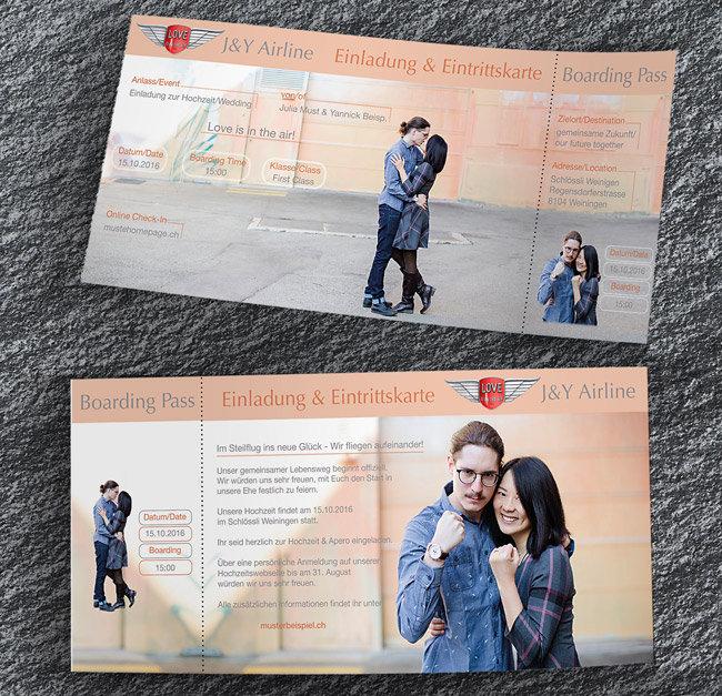 Hochzeitskarten individuell 2-seitig