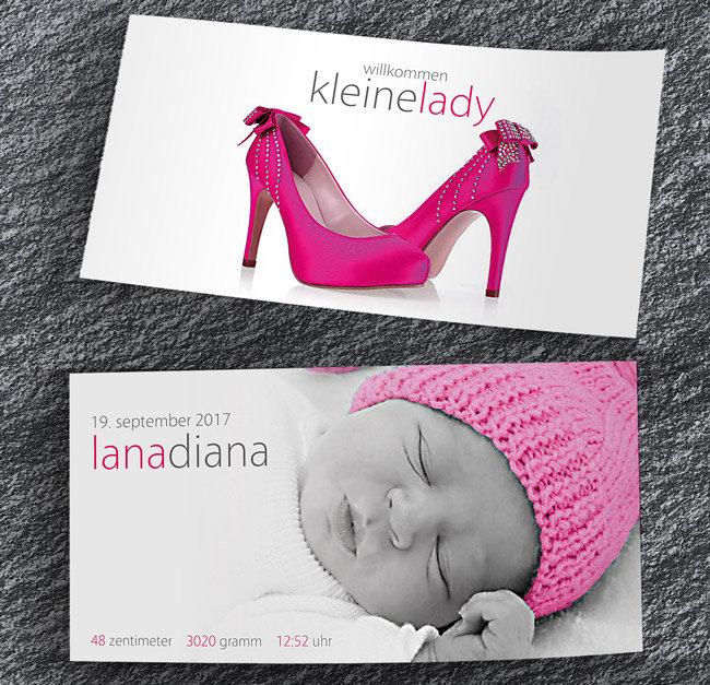 Geburtskarten 2-seitig lang