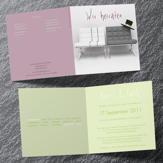 Individuelle Hochzeitskarten 4-seitig