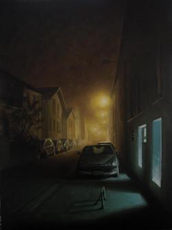 Rue Inkerman brouillard, lyon, huile sur