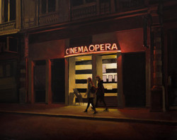 Cinema Opera, lyon, huile sur bois 40 pa
