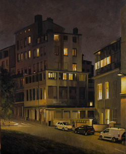 Rue Burdeau, lyon, huile sur bois 40 par