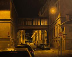 Rue Etienne Rognon, lyon, huile sur bois