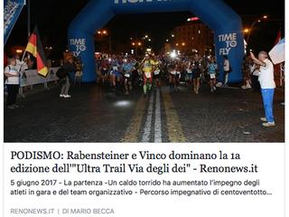 """PODISMO: Rabensteiner e Vinco dominano la 1a edizione dell'""""Ultra-Trail® Via degli Dei"""""""