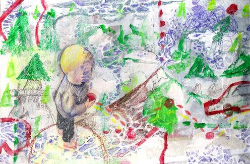 Danish boy,mixed media on wood,20/30cm,2007