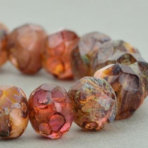 9x6mm Pink Crystal Picasso Rondelle
