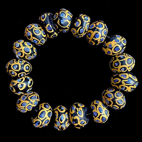 Venetian Black and Yellow King Beads