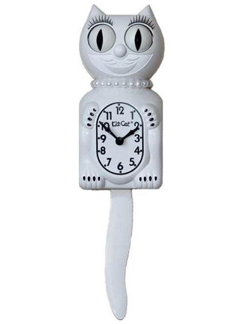 White Miss Kitty-Cat Clock