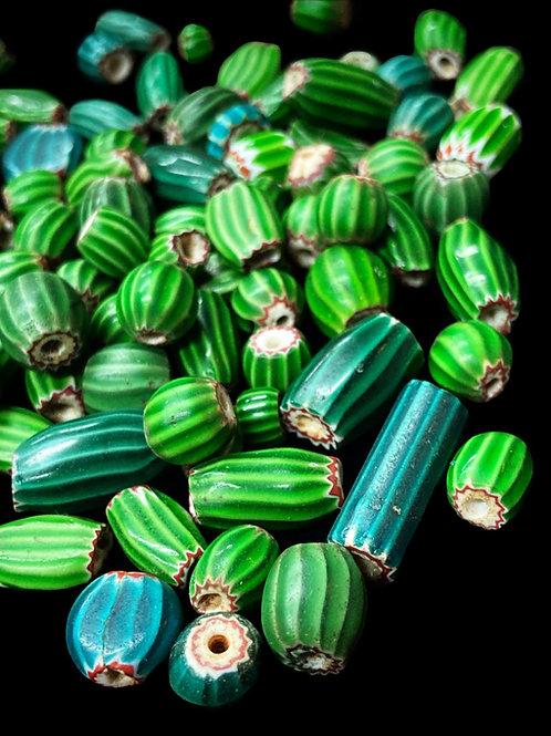Venetian Watermelon Chevron Beads (late 1800's)