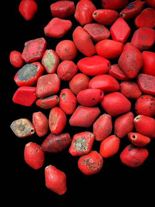 Red Kiffa Diamond-Shaped Beads