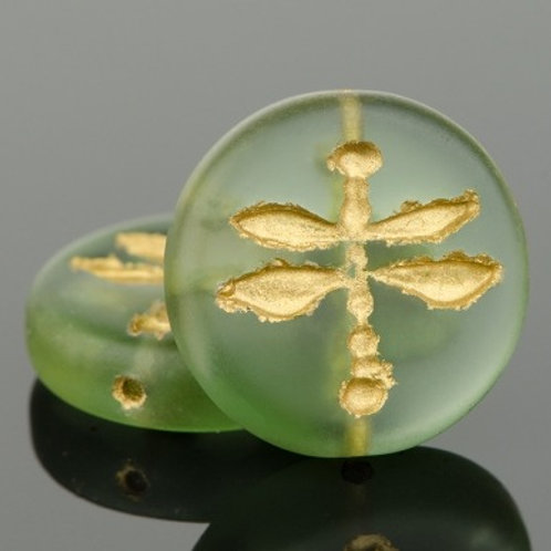 18mm Green and Gold Pressed Dragonfly Coin