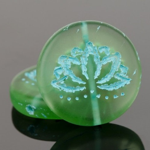 18mm Green and Turquoise Lotus Coin