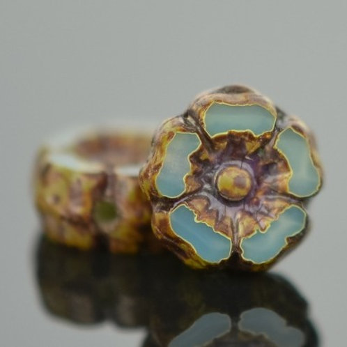 7mm Aqua Opaline and Picasso Hibiscus Flower