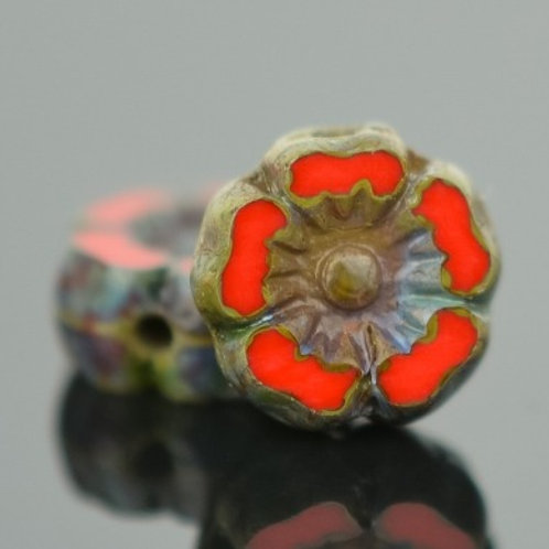 7mm Red and Picasso Hibiscus Flower