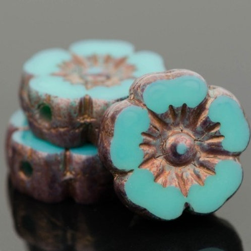 10mm Turquoise and Bronze Hibiscus Flower