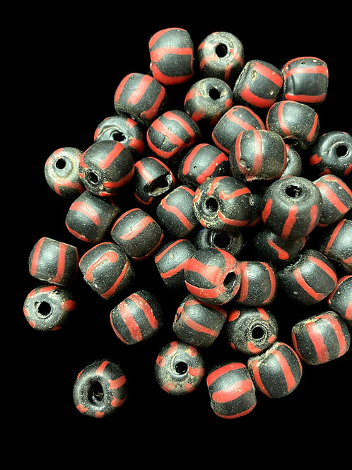 Red-Striped Venetian Bumble Bead