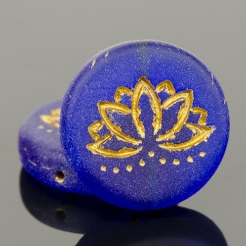 18mm Cobalt Blue and Gold Lotus Coin