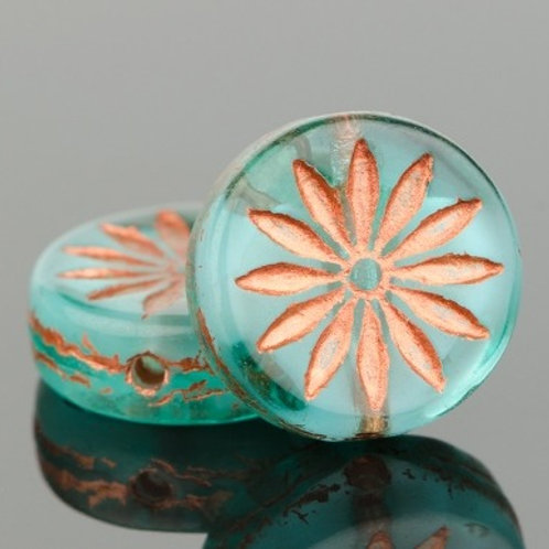 12mm Aqua and Copper Aster Coin