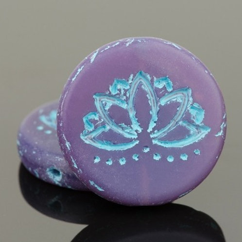 18mm Purple Opaline and Turquoise Lotus Coin
