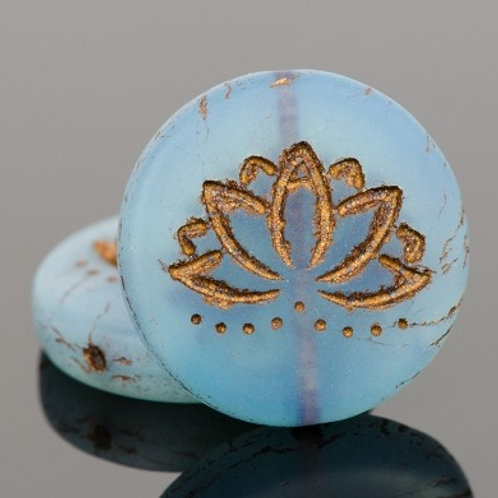 18mm Blue Opaline and Dark Bronze Lotus Coin