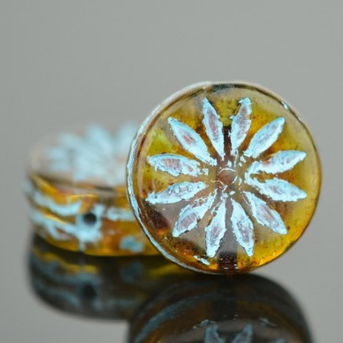 12mm Amber and Turquoise Aster Coin