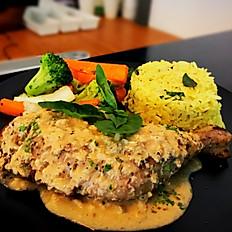 Fried Rice with Sautéed Broccoli, Mushroom, Peppers and Salad