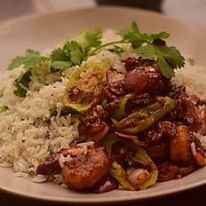 Garlic Basmathi Rice, with Sri Lankan Style Devilled Prawns, with Salad