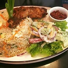 Saffron Basmathi Rice, with Sri Lankan Style Devilled Chicken with Salad