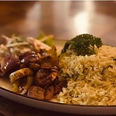 Saffron Basmathi Rice, with Sri Lankan Style Devilled Prawns, with Salad