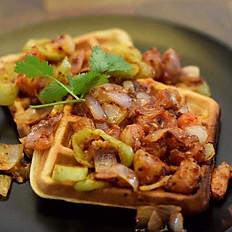 Waffles with Devilled Prawns