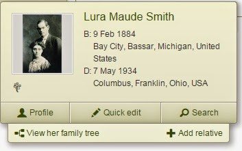 Profile of Lura Smith from Ancestry
