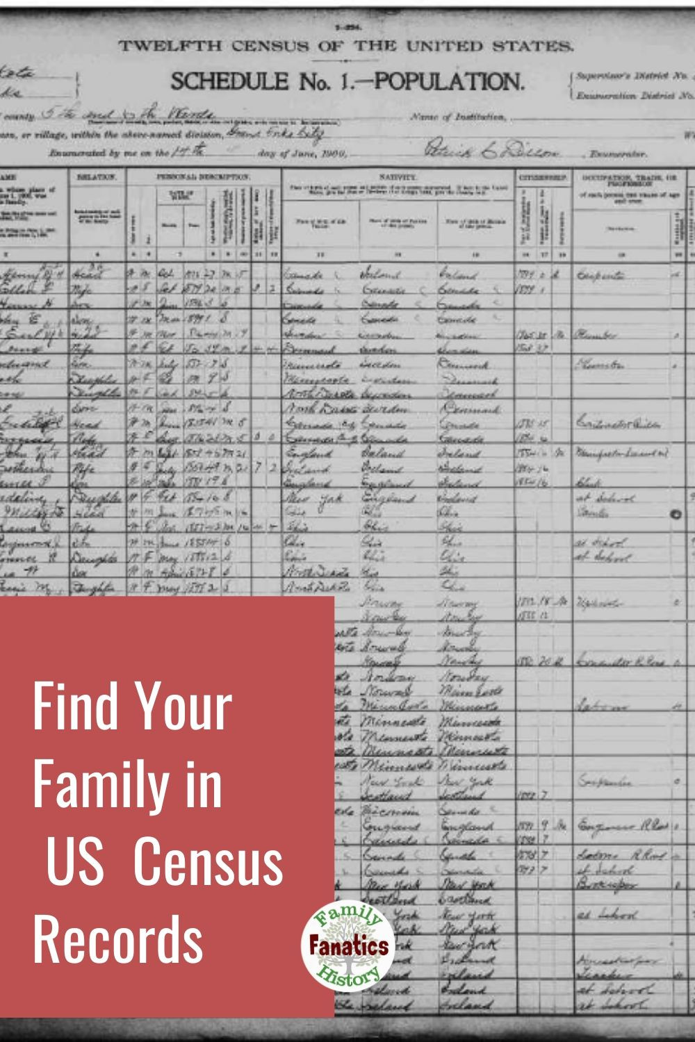 US Census Record and the title Find Your Family in US Census Records