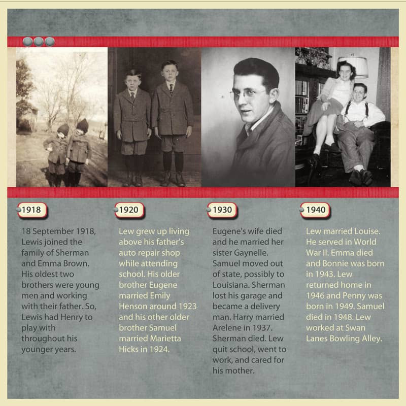 Gray and red timeline heritage scrapbook layout