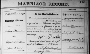 Marriage record for Charles Pusecker and Elizabeth Hoffman in Franklin County Ohio.