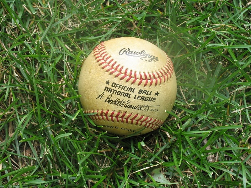 Photograph a baseball in grass to further capture a memory. #keepsakes #photography #familyhistory
