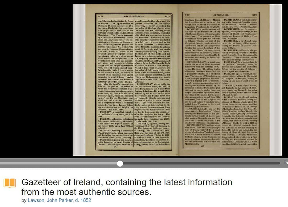 Gazetteers on Internet Archive for Ireland #genealogy #gazetteer
