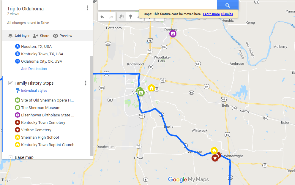 Google My Map Filled With Family History attractions and a possible additional stop. #genealogy #familyvacation #roadtrip