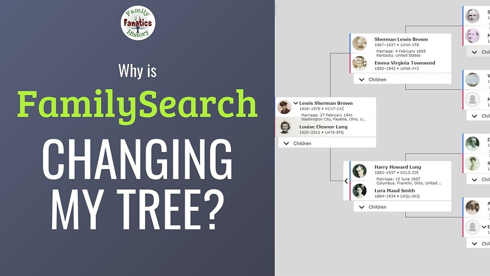 Pedigree chart with title why is FamilySearch changing my tree